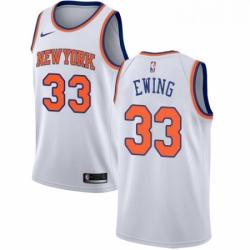 Mens Nike New York Knicks 33 Patrick Ewing Authentic White NBA Jersey Association Edition