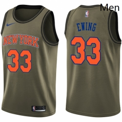 Mens Nike New York Knicks 33 Patrick Ewing Swingman Green Salute to Service NBA Jersey