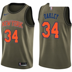 Mens Nike New York Knicks 34 Charles Oakley Swingman Green Salute to Service NBA Jersey
