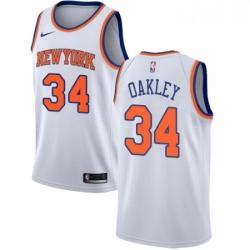 Mens Nike New York Knicks 34 Charles Oakley Swingman White NBA Jersey Association Edition