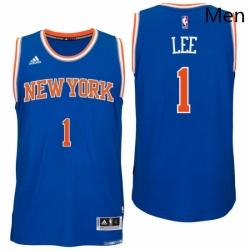 New York Knicks 1 Courtney Lee Road Blue New Swingman Jersey