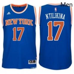 New York Knicks 17 Frank Ntilikina Road Blue New Swingman Stitched NBA Jersey
