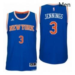 New York Knicks 3 Brandon Jennings 2016 Road Blue New Swingman Jersey