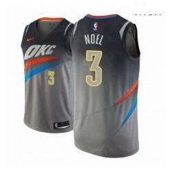 Men NBA 2018 19 Oklahoma City Thunder 3 Nerlens Noel City Edition Gray Jersey