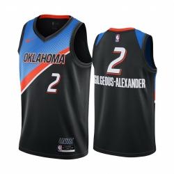 Men Nike Oklahoma City Thunder 2 Shai Gilgeous Alexander Black NBA Swingman 2020 21 City Edition Jersey