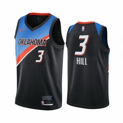 Men Nike Oklahoma City Thunder 3 George Hill Black NBA Swingman 2020 21 City Edition Jersey
