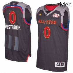 Mens Adidas Oklahoma City Thunder 0 Russell Westbrook Authentic Charcoal 2017 All Star NBA Jersey