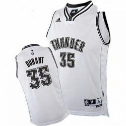Mens Adidas Oklahoma City Thunder 35 Kevin Durant Swingman White on White NBA Jersey