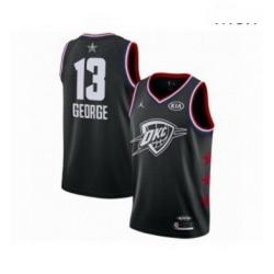 Mens Jordan Oklahoma City Thunder 13 Paul George Swingman Black 2019 All Star Game Basketball Jersey