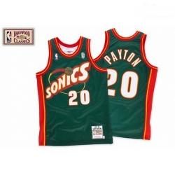 Mens Mitchell and Ness Oklahoma City Thunder 20 Gary Payton Authentic Green SuperSonics Throwback NBA Jersey