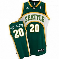 Mens Mitchell and Ness Oklahoma City Thunder 20 Gary Payton Authentic Green The Glove Throwback NBA Jersey