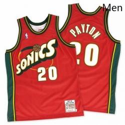 Mens Mitchell and Ness Oklahoma City Thunder 20 Gary Payton Swingman Red SuperSonics Throwback NBA Jersey