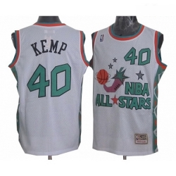 Mens Mitchell and Ness Oklahoma City Thunder 40 Shawn Kemp Authentic White 1996 All Star Throwback NBA Jersey