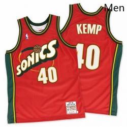 Mens Mitchell and Ness Oklahoma City Thunder 40 Shawn Kemp Swingman Red SuperSonics Throwback NBA Jersey