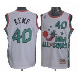 Mens Mitchell and Ness Oklahoma City Thunder 40 Shawn Kemp Swingman White 1996 All Star Throwback NBA Jersey