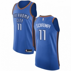 Mens Nike Oklahoma City Thunder 11 Detlef Schrempf Authentic Royal Blue Road NBA Jersey Icon Edition