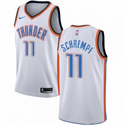 Mens Nike Oklahoma City Thunder 11 Detlef Schrempf Authentic White Home NBA Jersey Association Edition