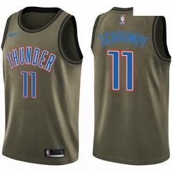 Mens Nike Oklahoma City Thunder 11 Detlef Schrempf Swingman Green Salute to Service NBA Jersey