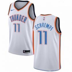 Mens Nike Oklahoma City Thunder 11 Detlef Schrempf Swingman White Home NBA Jersey Association Edition