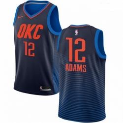 Mens Nike Oklahoma City Thunder 12 Steven Adams Authentic Navy Blue NBA Jersey Statement Edition