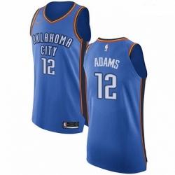 Mens Nike Oklahoma City Thunder 12 Steven Adams Authentic Royal Blue Road NBA Jersey Icon Edition
