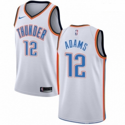 Mens Nike Oklahoma City Thunder 12 Steven Adams Swingman White Home NBA Jersey Association Edition