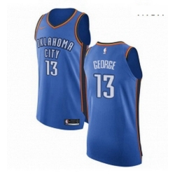 Mens Nike Oklahoma City Thunder 13 Paul George Authentic Royal Blue Road NBA Jersey Icon Edition