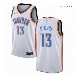 Mens Nike Oklahoma City Thunder 13 Paul George Authentic White Home NBA Jersey Association Edition