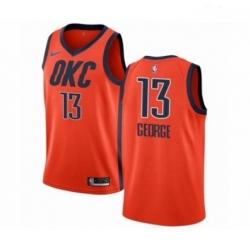 Mens Nike Oklahoma City Thunder 13 Paul George Orange Swingman Jersey Earned Edition