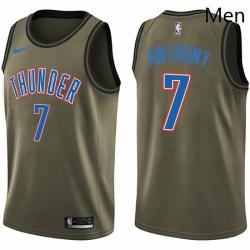 Mens Nike Oklahoma City Thunder 7 Carmelo Anthony Swingman Green Salute to Service NBA Jersey