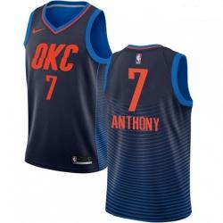 Mens Nike Oklahoma City Thunder 7 Carmelo Anthony Swingman Navy Blue NBA Jersey Statement Edition