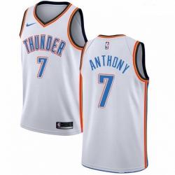 Mens Nike Oklahoma City Thunder 7 Carmelo Anthony Swingman White Home NBA Jersey Association Edition