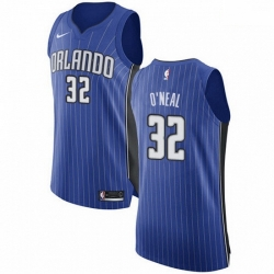 Mens Nike Orlando Magic 32 Shaquille ONeal Authentic Royal Blue Road NBA Jersey Icon Edition