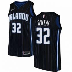 Mens Nike Orlando Magic 32 Shaquille ONeal Swingman Black Alternate NBA Jersey Statement Edition