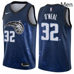 Mens Nike Orlando Magic 32 Shaquille ONeal Swingman Blue NBA Jersey City Edition