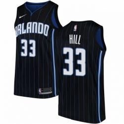Mens Nike Orlando Magic 33 Grant Hill Authentic Black Alternate NBA Jersey Statement Edition