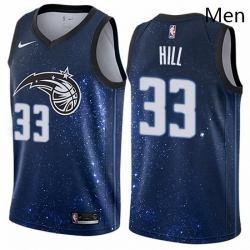 Mens Nike Orlando Magic 33 Grant Hill Authentic Blue NBA Jersey City Edition