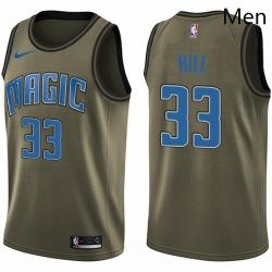 Mens Nike Orlando Magic 33 Grant Hill Swingman Green Salute to Service NBA Jersey