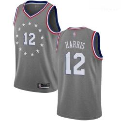 76ers #12 Tobias Harris Gray Basketball Swingman City Edition 2018 19 Jersey