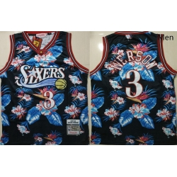 76ers 3 Allen Iverson Black 1997 98 Hardwood Classics Floral Fashion Swingman Jersey