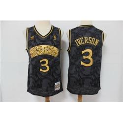 76ers 3 Allen Iverson Black Hardwood Classics Jersey