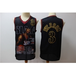 76ers 3 Allen Iverson Black Hardwood Classics Limited Edition Jersey