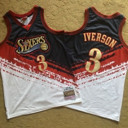 76ers 3 Allen Iverson Multi Color 1997 98 Hardwood Classics Independent Swingman Jersey