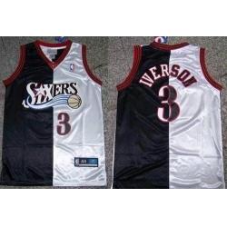 Men 76ers #3 Allen Iverson Black White Split Fashion Stitched NBA Jersey