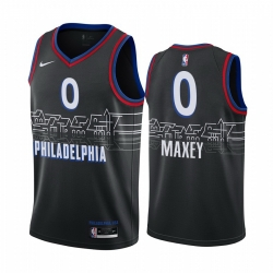 Men Nike Philadelphia 76ers 0 Tyrese Maxey Black NBA Swingman 2020 21 City Edition Jersey