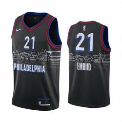 Men Nike Philadelphia 76ers 21 Joel Embiid Black NBA Swingman 2020 21 City Edition Jersey