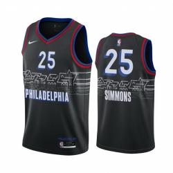Men Nike Philadelphia 76ers 25 Ben Simmons Black NBA Swingman 2020 21 City Edition Jersey