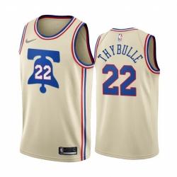 Men Philadelphia 76ers 22 Matisse Thybulle Cream NBA Swingman 2020 21 Earned Edition Jersey