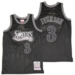 Men Philadelphia 76ers 3 Allen Iverson Black 1997 98 Hardwood Classics Jersey