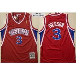 Men Philadelphia 76ers 3 Allen Iverson Red 1996 1997 Hardwood Classics Jersey